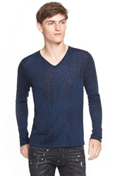 Just Cavalli Animal Jacquard V Neck Sweater Blueberry