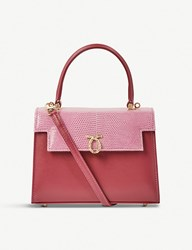 Launer Judi Lizard Leather Tote Rose