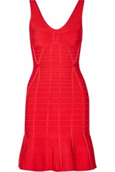 Herve Leger Christina Flared Bandage Mini Dress Orange