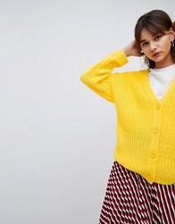 Asos Design Oversize Cardigan In Chunky Rib With Buttons Yellow