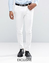 Only And Sons Super Skinny Trousers In Cotton Sateen White