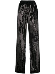 Alberta Ferretti Sequin Side Striped Track Pants Black