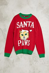 Forever 21 Santa Paws Cat Sweater Red Green