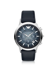 Emporio Armani Classic Chronograph Leather Band Men's Watch Silver