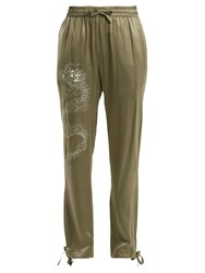 Mhi Dragon Embroidery Silk Trousers Green