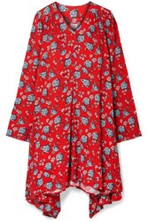 Vetements Oversized Floral Print Crepe Dress Red