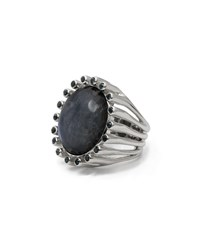 Stephen Dweck Oval White Rainbow Moonstone And Blue Topaz Ring