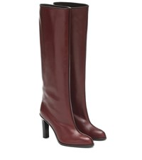 The Row Wide Shaft Leather Knee High Boots Red