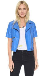 Mira Mikati Short Sleeve Leather Jacket Blue