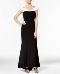 Calvin Klein Colorblocked Crepe Off The Shoulder Gown Black White