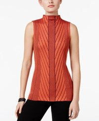 Joseph A Mock Neck Ribbed Knit Sweater Mandarin Red
