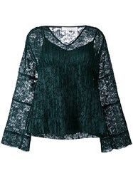 See By Chloe Lace Layered Bell Top Women Polyester 38 Green
