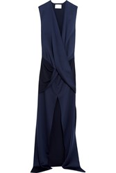 Solace London Erica Wrap Effect Satin Gown Navy