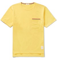 Thom Browne Slim Fit Grosgrain Trimmed Cotton Jersey T Shirt Yellow