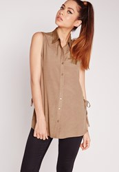 Missguided Lace Up Side Sleeveless Shirt Camel Brown