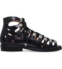 Toga Pulla Cutout Ghillie Leather Sandals Black