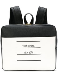 Thom Browne Paper Label Zip Top Book Bag Black