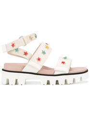 Red Valentino Star Studded Strapped Sandals White