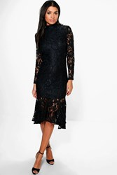 Boohoo Boutique Emzy Lace Peplum Hem Midi Dress Black