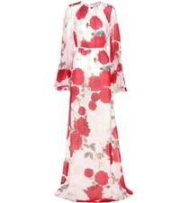 Giambattista Valli Floral Printed Silk Dress White