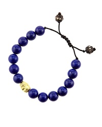Armenta Lapis And Diamond Bead Skull Bracelet