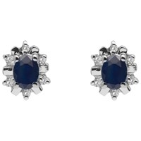 A B Davis 9Ct Gold Oval Precious Stone And Diamond Stud Earrings Sapphire