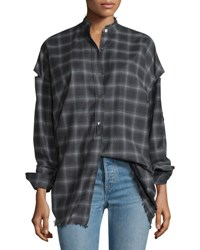 Helmut Lang Tabbed Sleeve Plaid Open Back Shirt Charcoal Melange