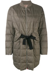 Moncler Gamme Rouge Long Puffer Jacket Women Silk Cotton Feather Down Polyamide 1 Brown