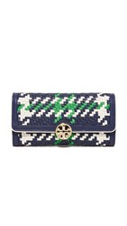 Tory Burch Woven Leather Envelope Wallet Royal Navy Court Green New Ivy