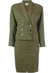Alaia Vintage Skirt And Jacket Suit Green