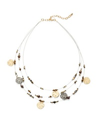 Robert Rose Three Row Disc Charm Necklace Two Tone