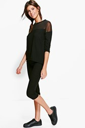 Boohoo Sheer Insert Fine Knit Lounge Set Black