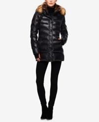 S13 Faux Fur Collar Down Puffer Coat Jet