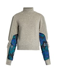 Preen Samuel Roll Neck Contrast Panel Sweater Grey Multi
