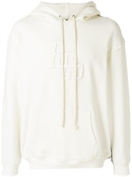 Represent Logo Embroidered Hoodie White