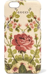 Gucci For Net A Porter Adonis Floral Print Textured Iphone 6 Case Antique Rose Red