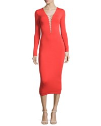 Alexander Wang Long Sleeve Laced Ponte Midi Dress Scarlet