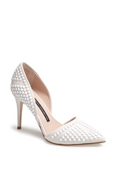 French Connection 'Ellis' Studded Nubuck D'orsay Pump Winter White
