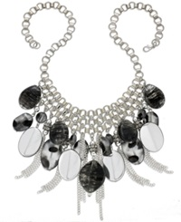 Style And Co. Necklace Silver Tone Black Multi Bead And Chain Fringe Frontal Necklace