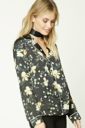 Forever 21 Contemporary Satin Floral Shirt Black Yellow