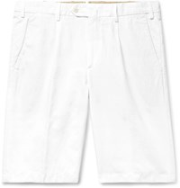 Loro Piana Slim Fit Pleated Cotton And Linen Blend Bermuda Shorts White
