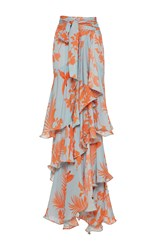 Johanna Ortiz Costa Pacifica Tiered Long Skirt Print