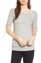 Trouve Women's Lace Up Sleeve Top
