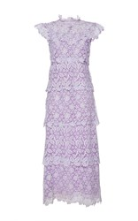 Giamba Tiered Lace Sleeveless Dress Purple
