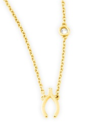 Shy By Sydney Evan Wishbone Pendant Bezel Diamond Necklace Gold