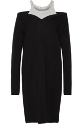 Alexander Wang T By Layered Cotton Jersey And Merino Wool Dress Black