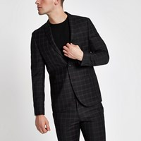 River Island Black Check Skinny Fit Suit Jacket