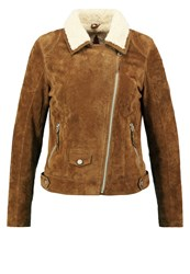 Freaky Nation Teddygirl Leather Jacket Dark Cognac
