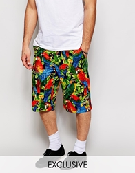 Reclaimed Vintage Shorts With Parrot Print Multi