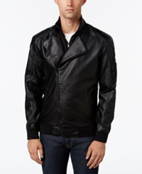 American Rag Men's 2Fer Faux Leather Moto Blazer Only At Macy's Deep Black